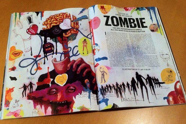 """Povídka """"Zombie"""" Chucka Palahniuka byla otištěna v listopadu 2013 v magazínu Playboy s ilustracemi P-Jay Fidlera"""