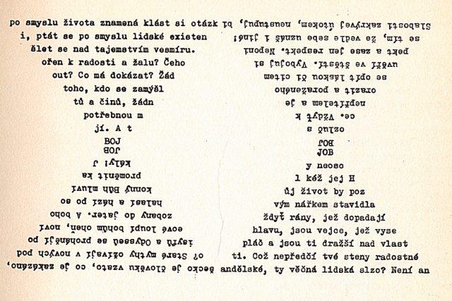 Bohumila Grögerová,  Josef Hiršal: Přesýpací hodiny  (ukázka vizuální poezie z knihy JOB-BOJ,  1968) | foto: Nakladatelství Československý spisovatel
