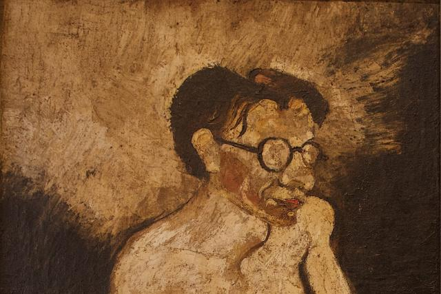 Karel Šlenger: Básník Josef Hiršal, 1937, olej, juta